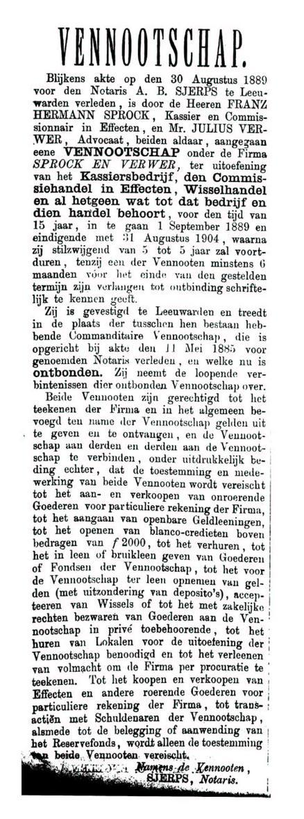 Oprichting Vof_2 september 1889