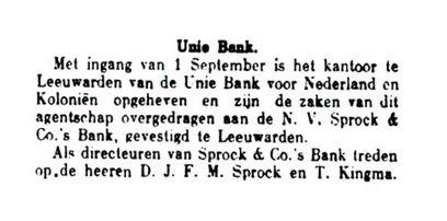 Overgang Unie-Bank_Sprock Bank_4 september 1925